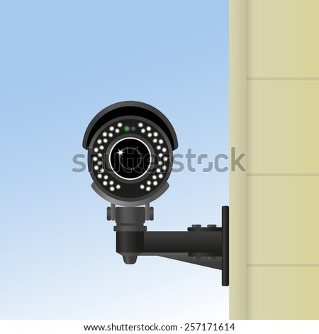 Ifrared black cctv fixed on the wall. Realistic illustration - stock photo