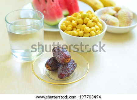 Iftar food - a spread to break a fast during holy month of Ramadan - stock photo