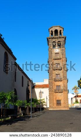 Iglesia-Parroquia Matriz de Nuestra Senora de La Concepcion in the old Town of San Cristobal de La Laguna, Tenerife, Canary Islands  - stock photo