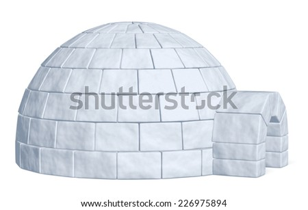 Igloo icehouse isolated on white side view background three-dimensional illustration - stock photo