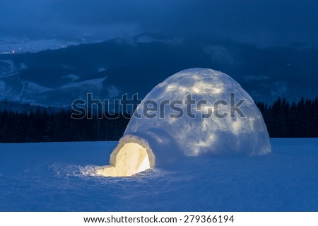 igloo in the high mountain - stock photo