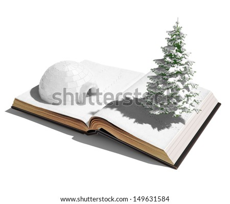 igloo on the open book. 3d concept  - stock photo