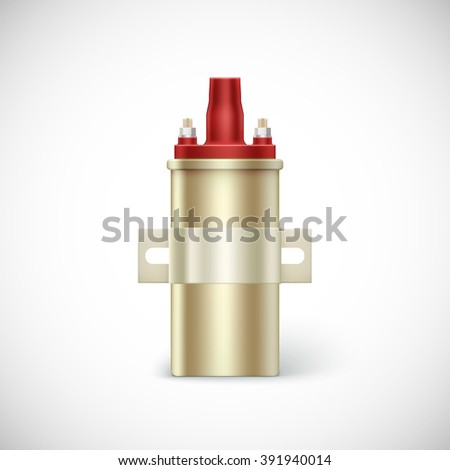 Igniter coil car part.  illustration isolated on white background - stock photo