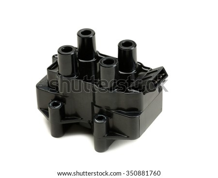 Ignition coil for gasoline four-cylinder internal combustion engine. Isolate on white. - stock photo