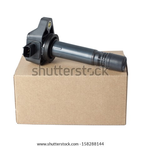 Ignition Coil with Package Isolated On White Background - stock photo