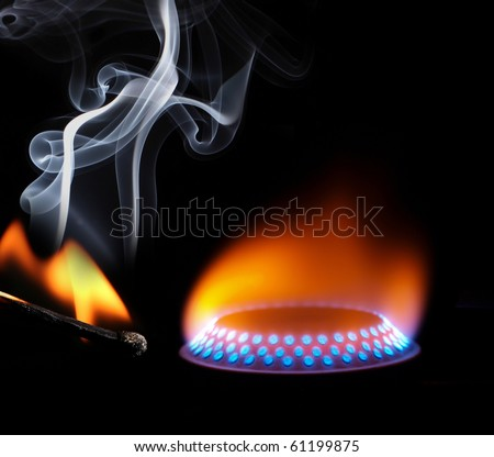 Ignition of match with smoke - stock photo