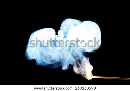 Ignition, where there is fire there is smoke. A small and compact match holds potential for great things. A close resemblance to human potential, a spark of ambition can lead to great things! - stock photo