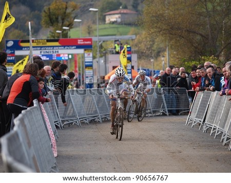 IGORRE, SPAIN - DECEMBER 4: Kevin Pauwels, wins the fourth round of the 2011-2012 Cyclo-cross World Cup on December 4, 2011 in Igorre, Spain
