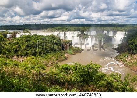 Iguacu (Iguazu) falls on a border of Brazil and Argentina - stock photo