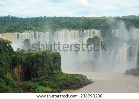 Iguacu waterfalls on the border of Argentina and Brazil - stock photo
