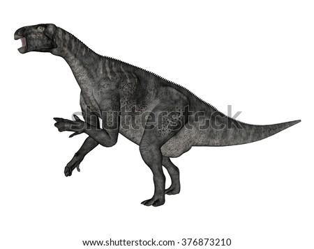 Iguanodon dinosaur roaring while walking - 3D render - stock photo