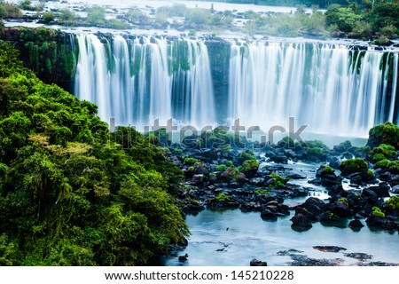 Iguassu Falls, the largest series of waterfalls of the world, view from Brazilian side - stock photo