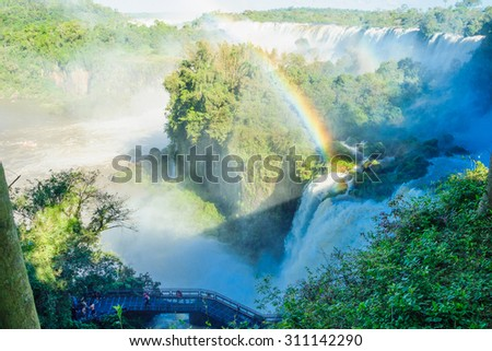 Iguassu National Park, on the border of Argentina and Brazil. Argentinian side - stock photo