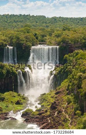 Iguassu waterfalls bordering Argentina Brazil - stock photo