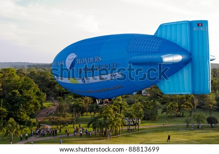 IGUAZU, ARGENTINA - OCTOBER 11: airship or Zeppelin promoting the New 7 Wonders of the World contest. October 11, 2011 in Iguazu, Misiones, Argentina