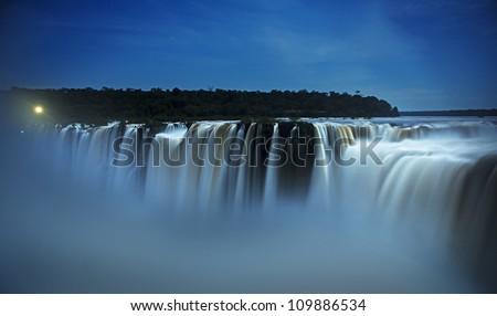 iguazu falls by night - stock photo