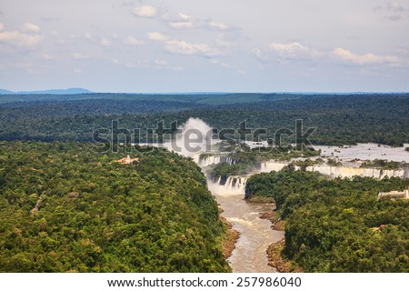 Iguazu Falls in the two national parks - Argentina and Brazil in the dense tropical forests.  Picture taken from a helicopter - stock photo