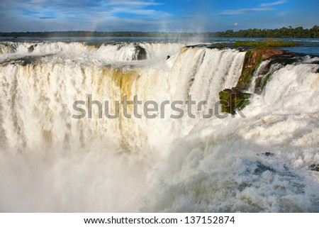Iguazu falls, one of the new seven wonders of nature. UNESCO World Heritage site. View from the argentinian side. - stock photo