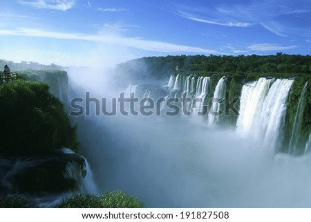 Iguazu Falls, Parana, Brazil -�� 2010: Aerial view of Devil'?s throat, the main fall at Iguazu Falls, one of the world's biggest water falls, sits in the tri-border region of Argentina-Brazil-Paraguay