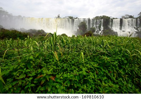 Iguazu Falls, the famous waterfall in the world at the border of Argentina and Brazil - stock photo
