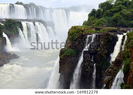 Iguazu Falls, the world famous waterfall at the border of Argentina and Brazil. - stock photo