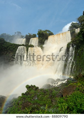 Iguazu Falls, UNESCO World Heritage Sites, and a New 7 Wonders of the world - stock photo
