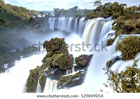 Iguazu falls : waterfalls with slow shutter speed to blur the water flow