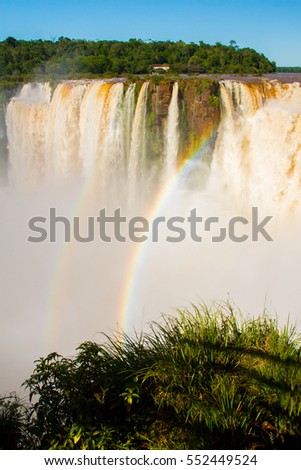 Iguazu (Iguacu) falls, largest series of waterfalls on the planet, located between Brazil, Argentina, and Paraguay with up to 275 separate waterfalls cascading along 2,700 meters (1.6 miles) cliffs.