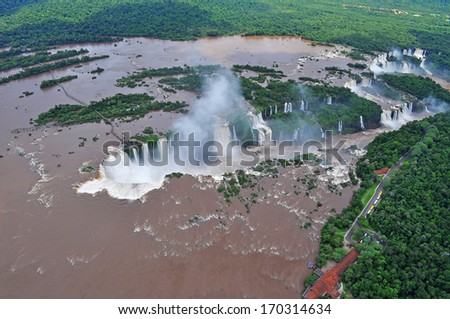 Iguazu waterfalls from helicopter. Border of Brazil and Argentina. - stock photo