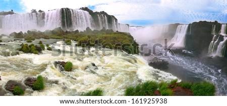 Iguazu waterfalls in Argentina and Brazil  - stock photo