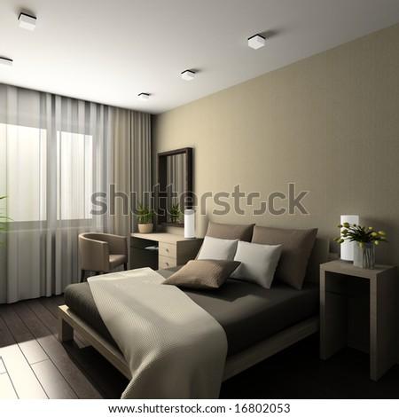Iinterior of modern bedroom. 3D render - stock photo