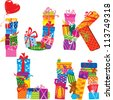 IJKLM - english alphabet - letters are made of gift boxes and presents. Raster version - stock photo