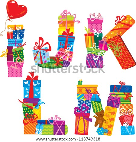 IJKLM - english alphabet - letters are made of gift boxes and presents. Raster version