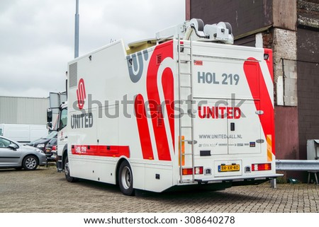 IJMUIDEN, NETHERLANDS - AUGUS 16 2015 : United television broadcast van arrives at the Ijmuiden harbour festival