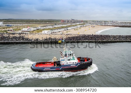 IJMUIDEN, NETHERLANDS - AUGUST 18 2015: Pilot vessel at the Sail Amsterdam harbour festival