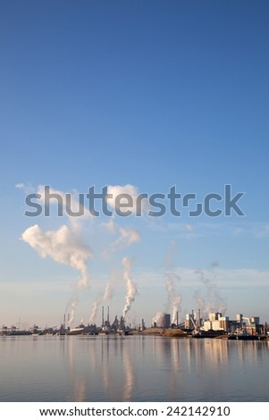 IJmuiden, Netherlands, 28 december 2014: factory of Tata steel in the dutch town of IJmuiden seen from noorzeekanaal