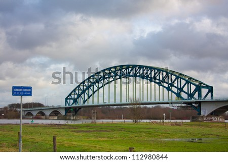 Ijsselbrug spanning the river Ijssel at Zwolle in The Netherlands - stock photo