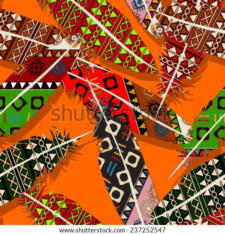 Ikat feather seamless  pattern design