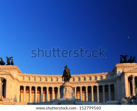 Il Vittoriano (The Altare della Patria) in Piazza Venezia, Rome, Italy - stock photo