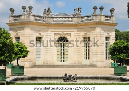 Ile de France, French Pavilion in the Marie Antoinette estate in the parc of Versailles Palace - stock photo