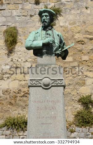 Ile de France, the statue of Daubigny inthe picturesque village of Auvers sur Oise