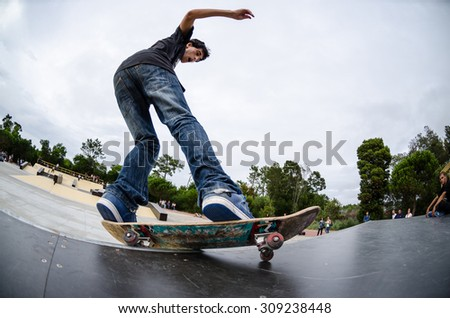 ILHAVO, PORTUGAL - AUGUST 22, 2015: Antonio Fausto during the Ilhavo's Skateboarding Championship and the new skatepark opening. - stock photo