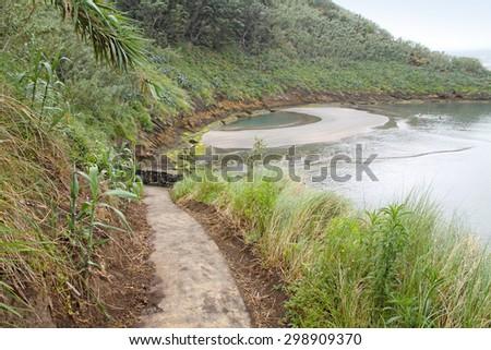 Ilheu de Vila Franca do Campo is a crater in the Atlantic ocean Sao Miguel Azores islands Portugal  - stock photo