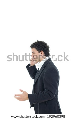 ill businessman in suit talking on the phone, isolated on white background - stock photo