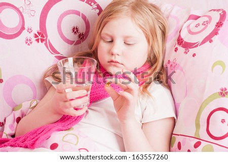 ill girl - stock photo