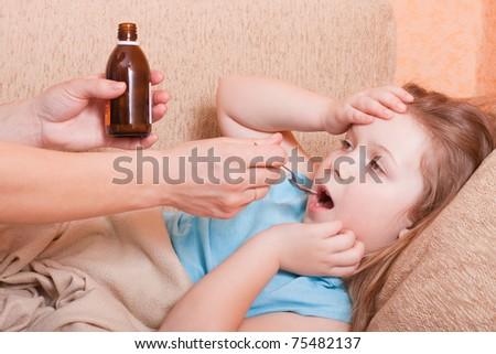 ill girl - stock photo