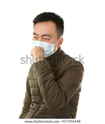 Ill man wearing mask isolated on white