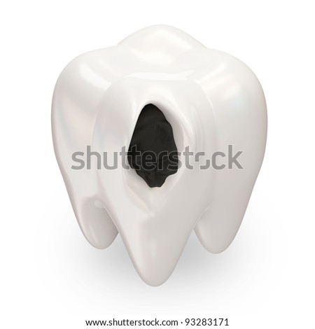 Ill Tooth on white background - stock photo
