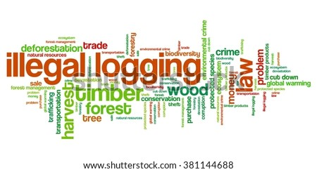 Illegal logging environmental issues and concepts word cloud illustration. Word collage concept. - stock photo