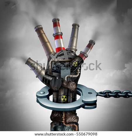 Illegal pollution environmental protection concept as a group of toxic waste with industrial smoke stacks shaped as a human hand in a handcuff for polluter justice with 3D illustration elements.